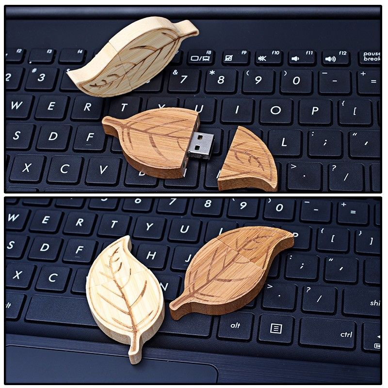 Natural Retro Style of  Leaf  Wood USB Flash Drive High Speed USB 2.0 128MB - 64GB